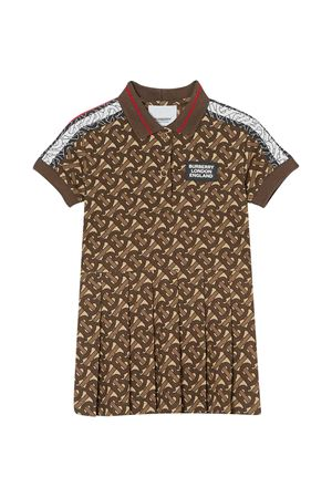 Brown dress with logo trama Burberry kids BURBERRY KIDS | 11 | 8030067A7436