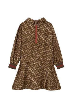 Brown long dress with logo trama Burberry kids BURBERRY KIDS | 11 | 8030248A7436