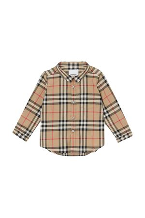 Camicia marrone a strisce Burberry kids BURBERRY KIDS | 5032334 | 8014137A7026