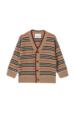 Cardigan marrone a righe con scollo a V Burberry kids BURBERRY KIDS | 7 | 8027594A7026