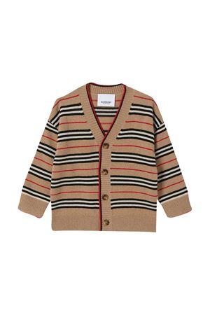 Cardigan marrone a righe con scollo a V Burberry kids BURBERRY KIDS | 7 | 8027594A7026