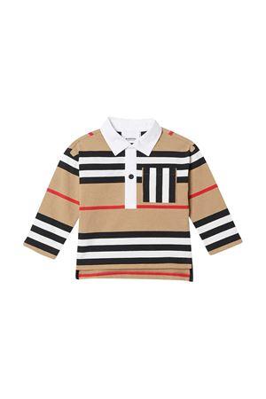 Polo marrone con motivo a righe Burberry kids BURBERRY KIDS | 7 | 8030064A7029