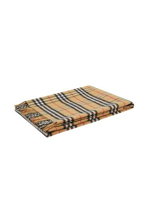 Brown tartan blanket with frayed edges Burberry kids BURBERRY KIDS | 69164127 | 8030885A7026