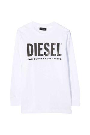 White long sleeves t-shirt with black frontal logo Diesel kids DIESEL KIDS   8   00J4Y000YI9K100