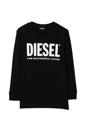 T-shirt teen nera a manica lunga con logo bianco frontale Diesel kids DIESEL KIDS | 8 | 00J4Y000YI9K900T
