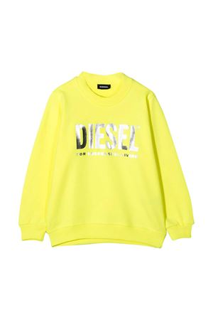 Yellow teen sweater with metallic press Diesel kids