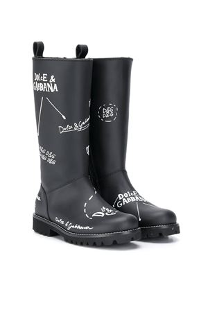 Blackboots with white print Dolce&Gabbana kids Dolce & Gabbana kids | 12 | D10958AH813HNF57