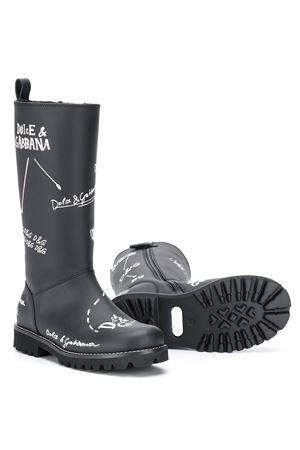 Black teen boots with white print Dolce&Gabbana kids Dolce & Gabbana kids | 12 | D10958AH813HNF57T