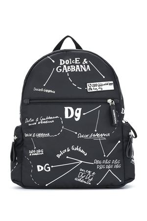 Black backpack with white print Dolce&Gabbana kids Dolce & Gabbana kids | 5032345 | EM0084AS772HN2FI