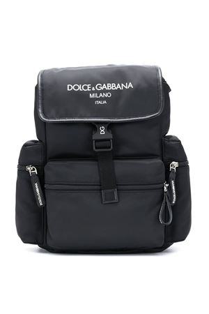 Black backpack with side pockets and white logo Dolce&Gabbana kids Dolce & Gabbana kids | 5032345 | EM0100AJ92380999