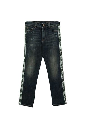 Jeans blu con banda laterale logata Dolce&Gabbana kids Dolce & Gabbana kids | 24 | L42F33LD943B0339