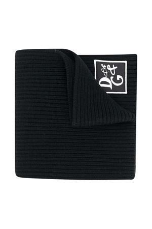 Sciarpa nera in maglia con logo Dolce&Gabbana kids Dolce & Gabbana kids | 77 | LBKA65JAVYIN0000