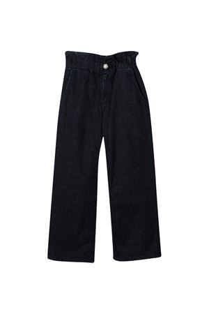 Midnight blue cotton-blend TEEN wide-leg logo jeans from DONDUP KIDS  DONDUP KIDS | 9 | YP336DS0265GAW5W800T