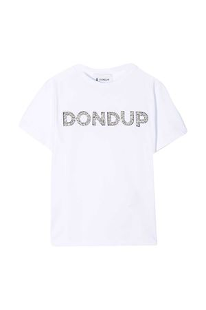 White cotton logo embellished t-shirt from DONDUP KIDS  DONDUP KIDS | 8 | YS167JY0014GZA51000
