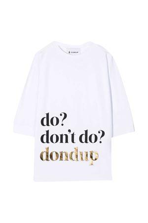 White/black cotton slogan print t-shirt from DONDUP KIDS  DONDUP KIDS   8   YS198JY0014GZA48000T