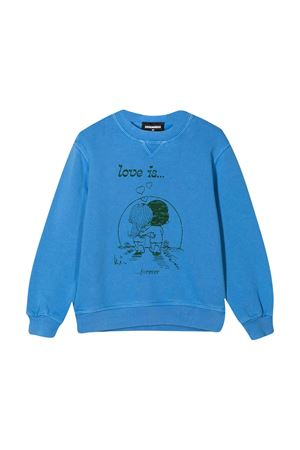 Light blue sweatshirt teen Dsquared2 Kids DSQUARED2 KIDS | -108764232 | DQ04J8D003MDQ867T