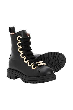 Black boots with gold details Elisabetta Franche La mia bambina ELISABETTA FRANCHI LA MIA BAMBINA | 12 | 66773NERO