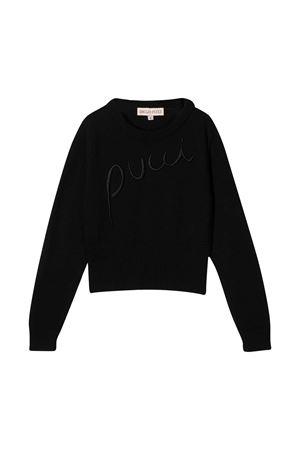 Maglia nera teen con ricamo logo Emilio Pucci Junior EMILIO PUCCI JUNIOR | 7 | 9N9000NE140930T