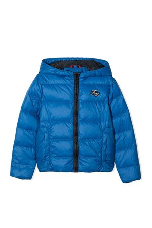 Blue teen jacket with hood and frontal logo application Fay kids FAY KIDS | 3 | 5N2007NC250613BLT