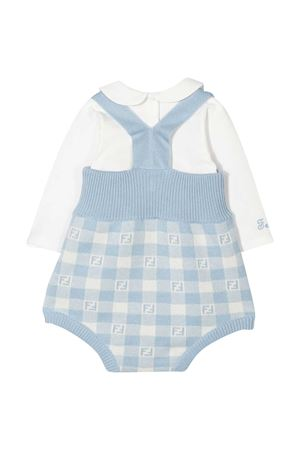 Blue shirt and dungaree set Fendi kids FENDI KIDS | 75988882 | BUL045A3TEF0VM1