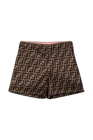 Brown shorts with FF pattern Fendi kids FENDI KIDS | 30 | JFF217A8LGF0EV6