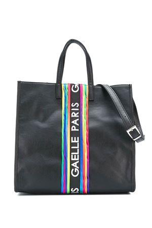 Borsa nera con banda logata multicolor Gaelle Paris kids Gaelle | 31 | 2741BAG0286NERO