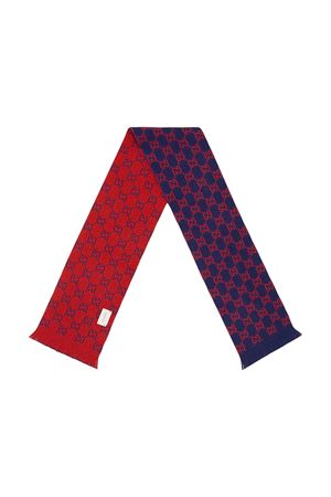 Blue and red scarf with GG pattern Gucci kids GUCCI KIDS | 77 | 6294984K2064374