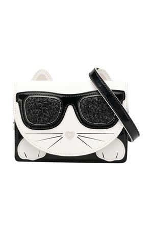 Black/white faux leather Choupette shoulder bag from KARL LAGERFELD KIDS Karl lagerfeld kids | 31 | Z1008609B