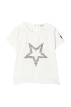 T-shirt bianca con ricamo frontale stella Moncler kids Moncler Kids | 8 | 8C716108790M034