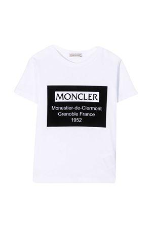 T-shirt bianca teen con stampa frontale logo Moncler kids Moncler Kids | 8 | 8C7312083092001T