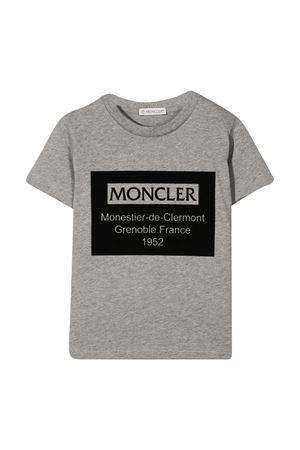 T-shirt teen grigia con stampa logo Moncler kids Moncler Kids | 8 | 8C7312083092986T