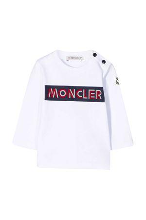 T-shirt bianca con stampa logo Moncler kids Moncler Kids | 8 | 8D7032087275001