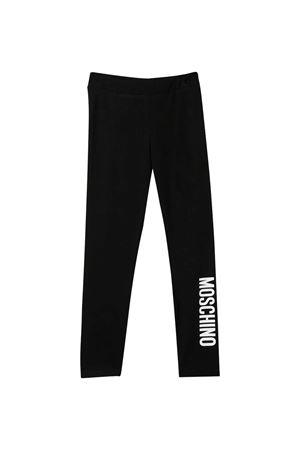 Black leggings with logo Moschino kids MOSCHINO KIDS | 5032349 | HAP03ULBA1160100