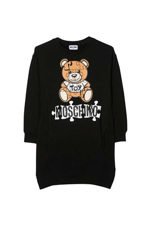 Black dress with frontal toy and logo press Moschino kids MOSCHINO KIDS | 11 | HDV09GLDA1460100