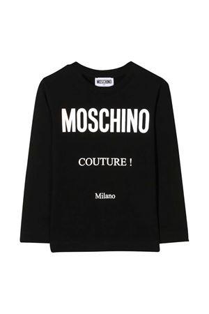 T-shirt teen nera con stampa bianca Moschino kids MOSCHINO KIDS | 8 | HMO005LBA1260100T