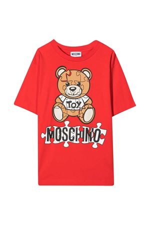 Maxi teen t-shirt rossa con stampa toy multicolor Moschino kids MOSCHINO KIDS | 5032307 | HUM02XLBA1150109T