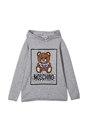 Grey shirt with hood and toy press Moschino kids MOSCHINO KIDS | 7 | HUW00KLHE1160901