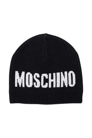 Black ribbed hat with logo Moschino kids MOSCHINO KIDS   75988881   HUX017LHE1160100