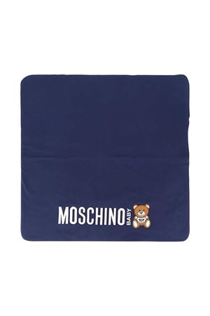 Blue squared blanket with toy press Moschino kids MOSCHINO KIDS | 69164127 | MNB005LDA1640016