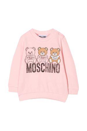 Pink sweatshirt with toy and logo press Moschino kids MOSCHINO KIDS | -108764232 | MPF03ELDA1450209