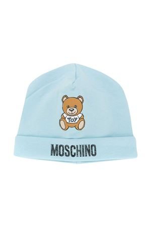 Sky blue round hat with toy and logo press Moschino kids MOSCHINO KIDS | 75988881 | MRX031LDA1440304