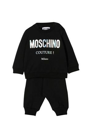 Black jumpsuit with frontal white logo Moschino kids MOSCHINO KIDS   19   MUK02WLDA1660100