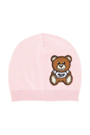 Pink round hat with frontal toy application Moschino kids MOSCHINO KIDS | 75988881 | MUX03CLHE0350209