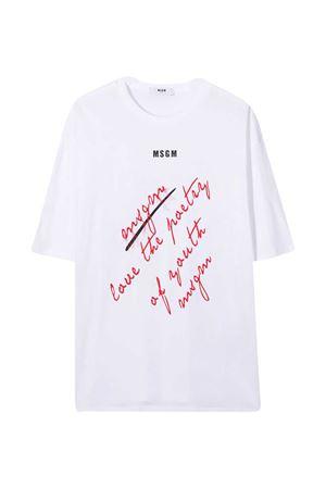 T-shirt bianca teen con stampa rossa MSGM kids MSGM KIDS   8   025149001T