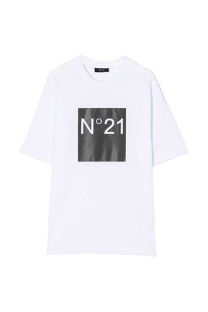 White t-shirt with frontal logo press N°21 kids N°21 KIDS | 8 | N214AVN00030N100