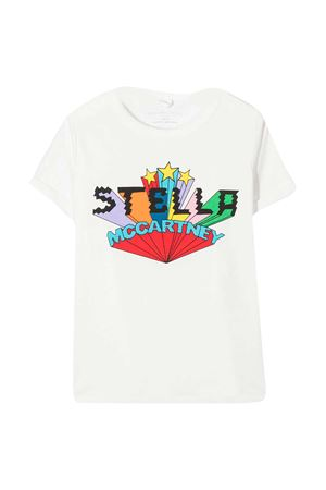 T-shirt teen bianca con stampa multicolor Stella McCartney kids STELLA MCCARTNEY KIDS | 8 | 601104SPJ039100T