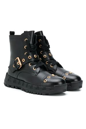 Black teen boots with golden details Young Versace YOUNG VERSACE | 76 | YHF00062YB00238YS95FT