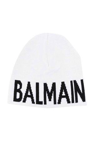 Cappello bianco con stampa nera BALMAIN KIDS | 75988881 | 6P0707W0031100NE