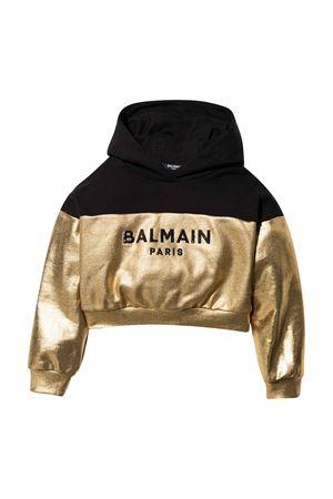 Felpa teen nera e oro con cappuccio e logo frontale BALMAIN KIDS | -108764232 | 6P4120B0007219T