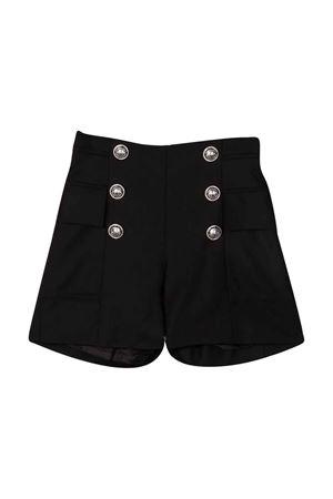 Shorts teen neri con bottoni argento BALMAIN KIDS | 30 | 6P6229I0024930AGT